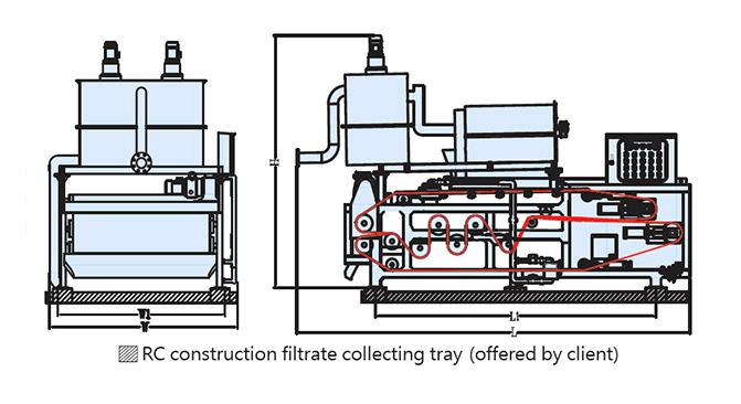 sơ đồ máy ép bùn băng tải TE2000